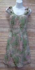 J CREW 0 Green Pink Silk Floral Sleeveless Fully Lined Sheath Dress XS