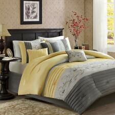 Posh 7pc Grey & Yellow Embroidered Floral Comforter Set AND Decorative Pillows