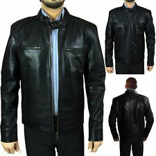 New Mens Soft Real Leather Bomber Jacket Vintage Biker Style Size S M 2XL XS