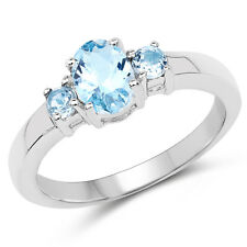 1.19 ct Genuine Blue Topaz Gemstone 925 Sterling Silver 3 Stone Wedding Ring
