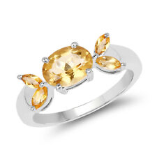 1.60 ct Genuine Citrine Oval & Marquise Cut 925 Sterling Silver Engagement Ring