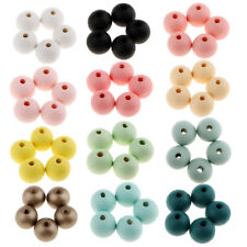 30pcs Natural Wooden Beads Dyed Round Wood Balls Holes 18mm Spacer Beads