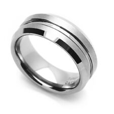 8MM Comfort Fit Tungsten Carbide Wedding Band Center Grooved Beveled Edges Ring
