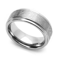 8MM Comfort Fit Tungsten Carbide Wedding Band Celtic Knot Engraved Flat Ring