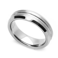 6MM Comfort Fit Tungsten Carbide Wedding Band Grooved Center Beveled Edges Ring