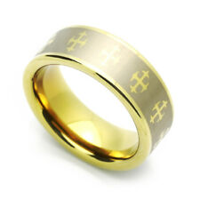 8MM Comfort Fit Tungsten Carbide Wedding Band Zirconium Plated Celtic Cross Ring
