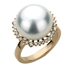 14K Gold 0.35 cttw Diamond Halo High Luster South Sea Cultured Pearl Ring 16.5mm