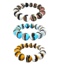 Women Men's Retro Colored Painted Glass Beads Bangle Wrist Bracelet 3Styles