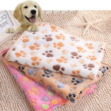 Cute Pet Mat Small Large Paw Print Cat Dog Puppy Fleece Soft Blanket Bed Caves@