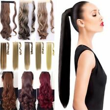 Real Clip In Hair Extensions Pony Tail Wrap Around Ponytail Straight Curly kc96r