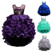 Flower Girls Dress Ruffle Layered for Kids Formal Party Wedding Communion Gown