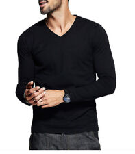Plus Size Mens T Shirt V neck Long sleeve High Elastic Cotton Fitted Basic Tee