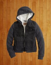 NWT WOMENS HOLLISTER SIZE LARGE SHERPA LINED HOODED BLACK DENIM JACKET HOODIE