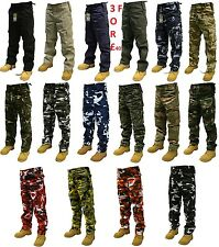 MENS ADULT Combat CARGO Trousers PLAIN OR Camo Camouflage Pants Airsoft Work