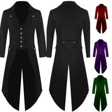 Men Steampunk Military Tailcoat Coat Long Jackets Gothic Party Business Parka