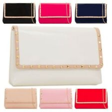New Ladies Faux Leather Patent Finish Studded Clutch Bag Handbag