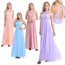 Women Long Lace Chiffon Prom Evening Party Ball Gown Wedding Bridesmaid Dress
