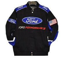Authentic Mustang Racing Jacket Collage Mens Black Twill Jacket by JH Design