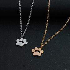 Paw Print Tag Charm Necklace  Sterling Silver Dog Cat Pet Animal Pendant  Women