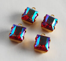 VINTAGE GLASS BAGUETTE PENDANT BEADS • 8x10mm • EMERALD AB, RUBY AB
