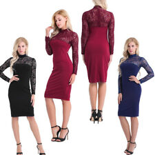 Women Floral Lace Bodycon Long Sleeve Cocktail Evening Party Short Mini Dress