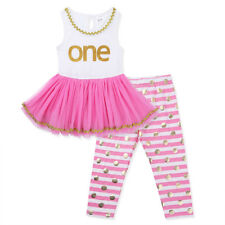 Infant Baby Girls 2 Pieces 1st Birthday Outfit Top Dress+Pants Party Clothes Set
