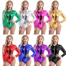 Women Leather Zipper Bodysuit Wet Look Leotard Catsuit Jumpsuit Clubwear Costume