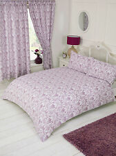 Annette Plum Floral Damask Aubergine Mauve Purple White Bedding Or Curtains