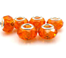 Silver & Orange Authentic Murano Glass Facet Crystal Beads 4 Big Hole Bracelet