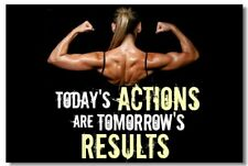 Poster Bodybuilding Men Girl Fitness Workout Quotes Motivational Font Print 026