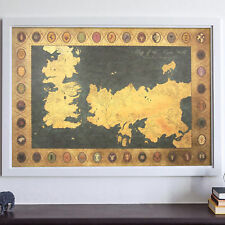 Game Of Thrones Houses Map Westeros And Free Cities Poster AU