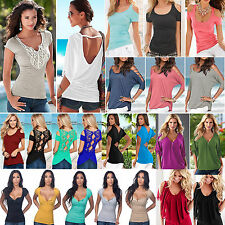 Womens Summer Short Sleeve Casual Tops Ladies Stretch T Shirts Blouse Plus Size