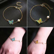Retro Women Wedding Butterfly Crystal Pearl Chain Bangle Bracelet Party Jewelry