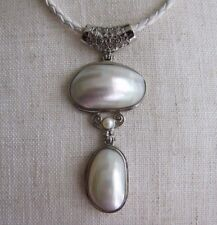 Pearl Shell Conch Pendant on Leatherette Cord Necklace - NEW.