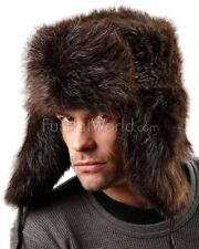 Brown Beaver Full Fur Russian Hat -Brand: frr -Made in Canada.