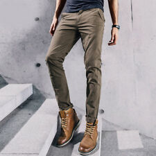 Classic Slim Fit Mens Sraight Leg Middle Rise Casual Cargo Pants Trousers Khaki