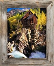 16x20 Barnwood Picture Frame, Homestead Narrow 1.5 Inch Flat Rustic Reclaimed Wo