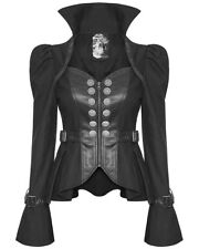 Punk Rave Womens Gothic Military Jacket Black Faux Leather Steampunk Dystopian