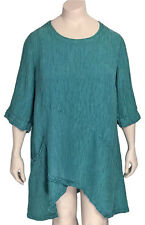 GRIZAS XL ( US 16 / 18 ) Silk Linen Crinkle Arched Hem Tunic Top -NWT Orig. $240