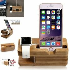 Bamboo Charging Dock Station Charger Holder For Apple Watch iWatch iPhone LN
