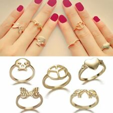 Women Fashion Gold Plated Skull Love Heart Hollow Bowknot Ring Jewellery Gift
