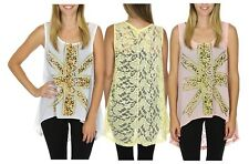 Women's Lace-Back Hi-Low Tunic Union Jack UK Flag Tank Top w/ Rhinestone Accents