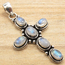 925 Silver Plated Real Natural Gemstone ETHNIC CROSS Pendant Handwork