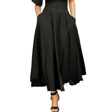 Women Fashion High Waist Long Skirt Pleated A Line Front Slit Belted Maxi Skirt