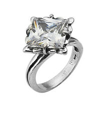 Modern Authentic Women's Ring 925 Sterling Silver White CZ Solitaire White Color