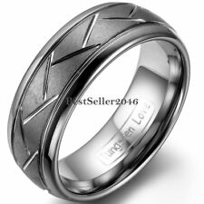 8mm Comfort Fit Brushed Band Men's Tungsten Carbide Ring with Zig Zag Grooves
