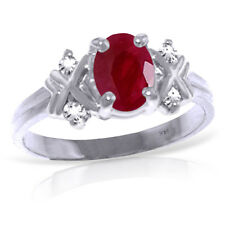 14K Solid White Gold 1.47 Carat Oval Natural Ruby Diamond Ring Wt 2.70g H 0.85in