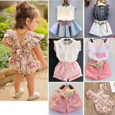 1/2/3PCS Toddler Kids Baby Girls Summer Outfit Clothes T-shirt +Pants/Dress Set