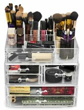 Cosmetic Organizer Makeup Storage Display Case Drawer Large Clear Acrylic NEW
