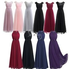 Women's Lace Long Chiffon Dress Bridesmaid Wedding Evening Party Ball Prom Gown